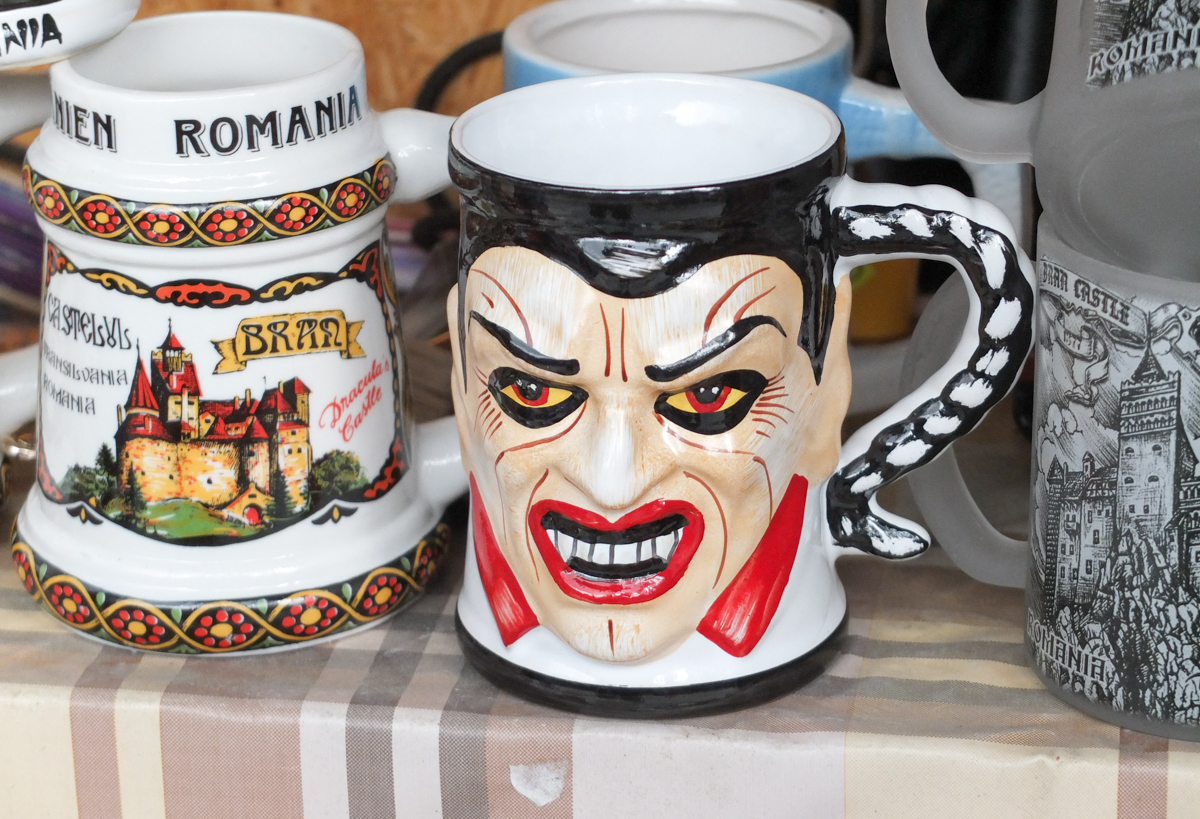 A beer mug with Dracula's face it.
