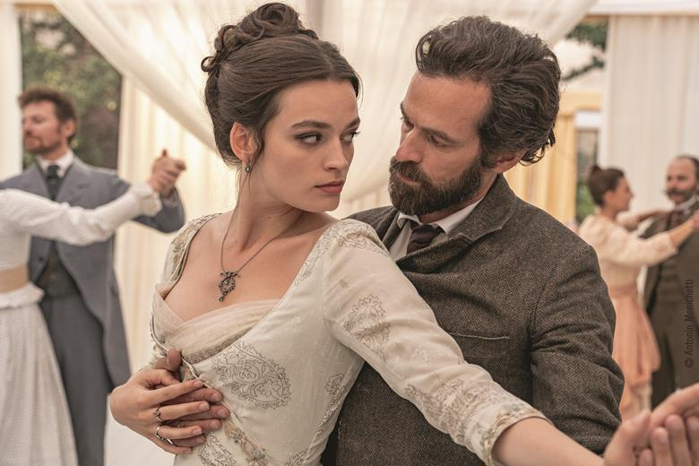 Emma Mackey and Romain Duris in a scene from the film Eiffel