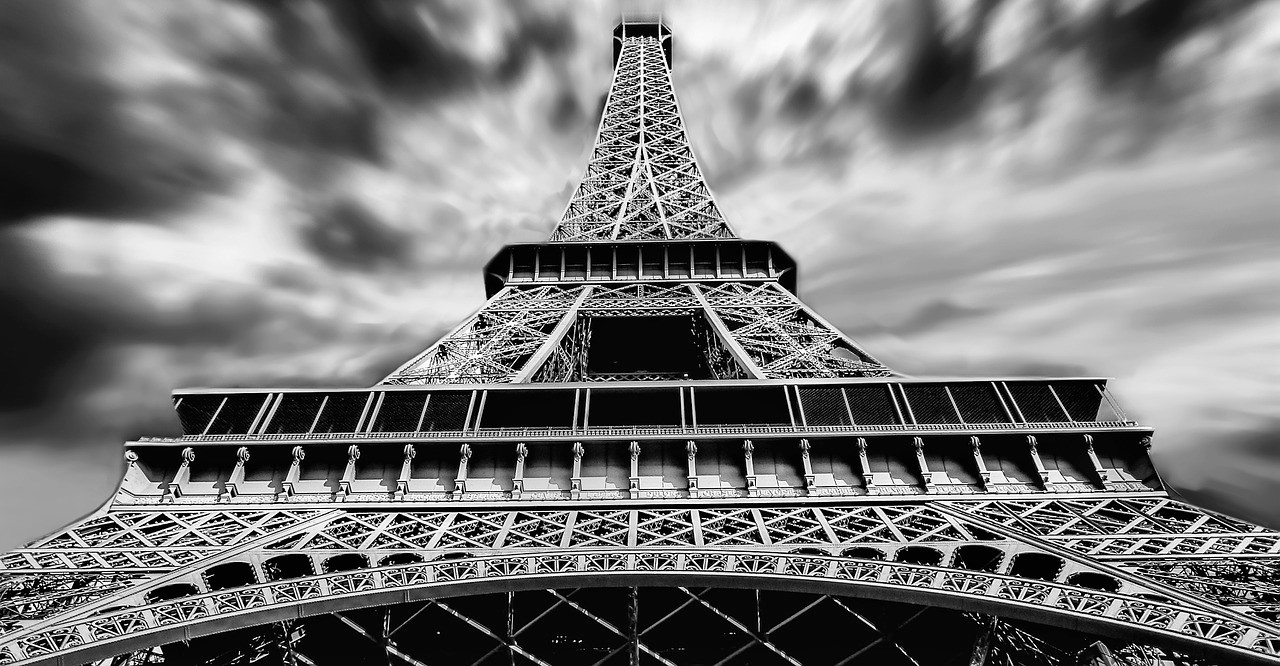 A view of the Eiffel Tower from the base.